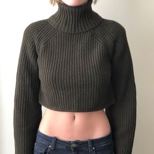 A.L.C.  army green cropped turtleneck sweater